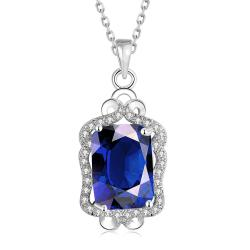 Vienna Jewelry White Gold Plated Square Saphire Necklace - Thumbnail 0