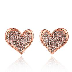 Vienna Jewelry 18K Rose Gold Petite Heart Shaped Earrings Covered with Jewels Made with Swarovksi Elements - Thumbnail 0