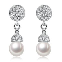 Vienna Jewelry 18K White Gold Plated Pearl Drop Earrings - Thumbnail 0