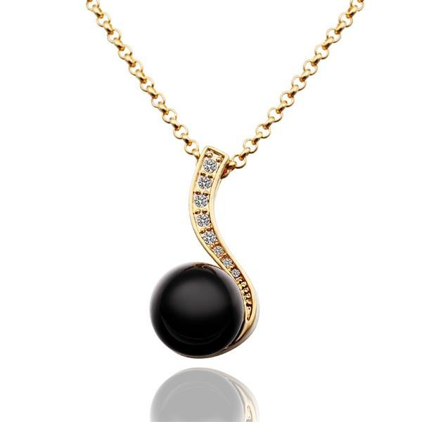 Vienna Jewelry Gold Plated Spiral Onyx Pearl Drop Necklace