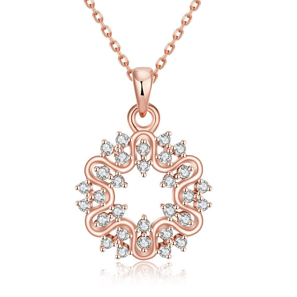 Vienna Jewelry Rose Gold Plated Circular Emblem Necklace