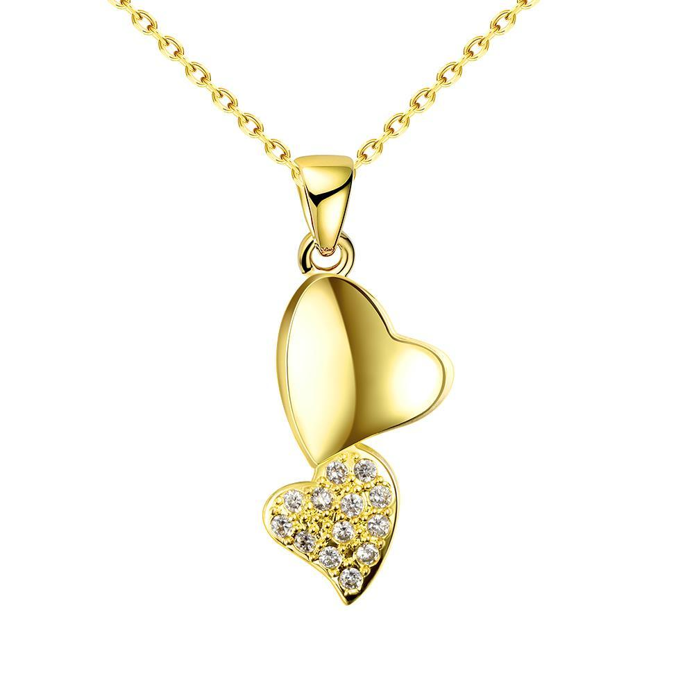 Vienna Jewelry Gold Plated Dangling Hearts Necklace