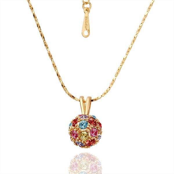 Vienna Jewelry Gold Plated Rainbow Pav'e Crystal Necklace
