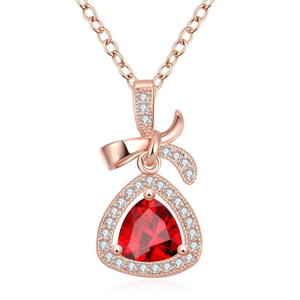 Vienna Jewelry Rose Gold Plated Classic Triangular Necklace