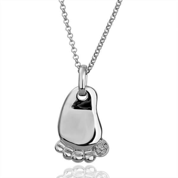 Vienna Jewelry White Gold Plated Petite Infant Feet Necklace