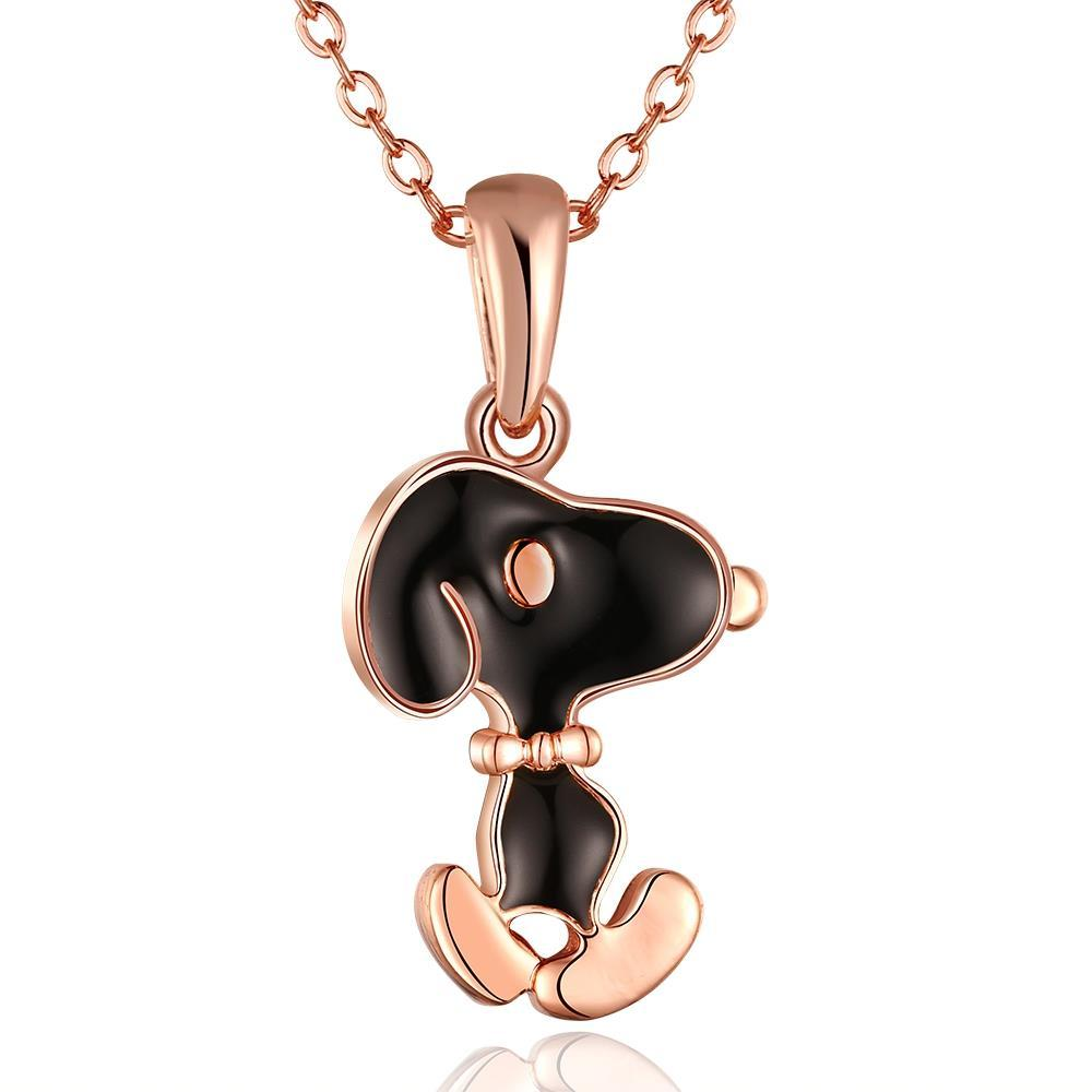 Vienna Jewelry Rose Gold Plated Snoopy Dog Inspired Necklace