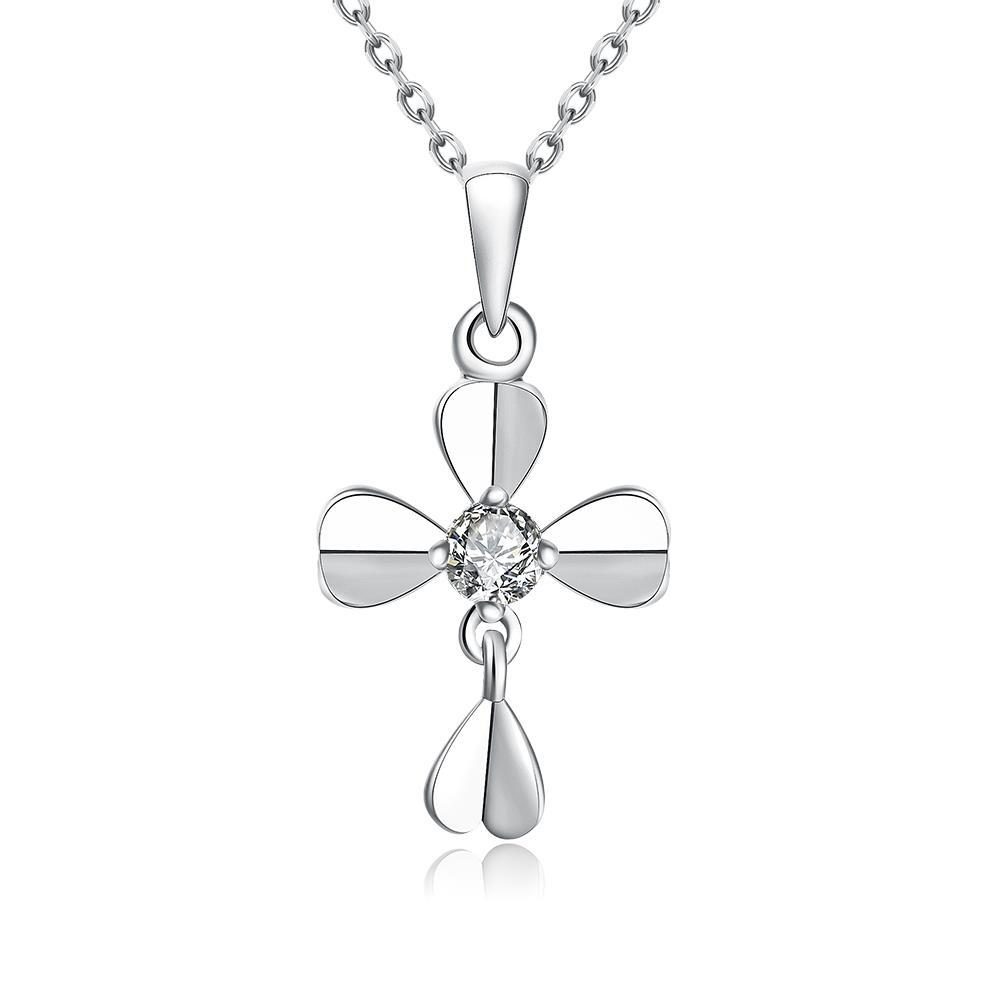 Vienna Jewelry White Gold Plated Modern Cross Necklace
