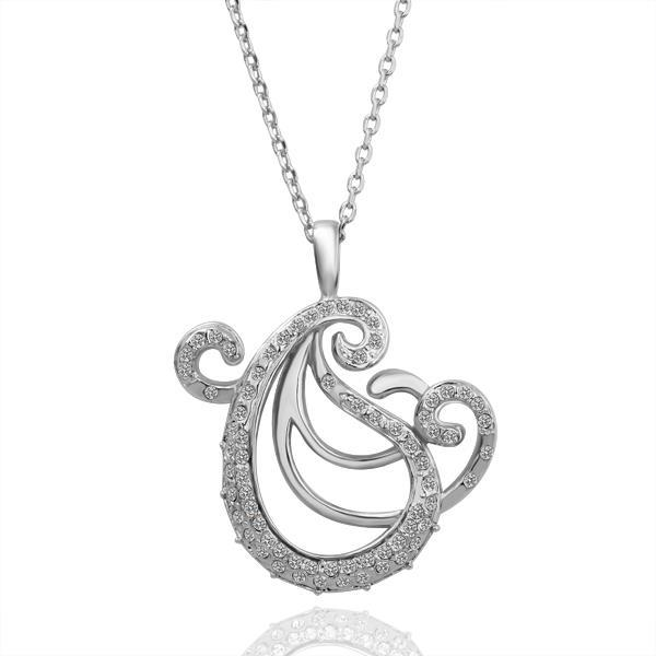 Vienna Jewelry White Gold Plated Abract Paris Curved Necklace