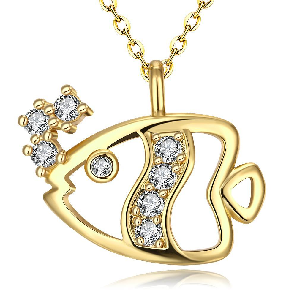 Vienna Jewelry Gold Plated Fish of the Sea Necklace