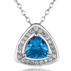 Vienna Jewelry White Gold Plated Pyramid Drop Necklace - Thumbnail 0