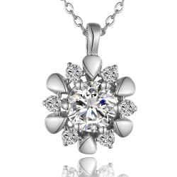 Vienna Jewelry White Gold Plated Spiral Blossoming Clover Emblem Necklace - Thumbnail 0