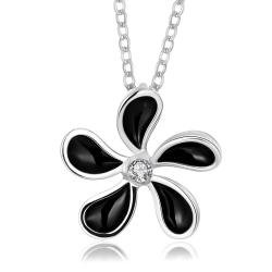 Vienna Jewelry White Gold Plated Onyx Spiral Floral Necklace - Thumbnail 0