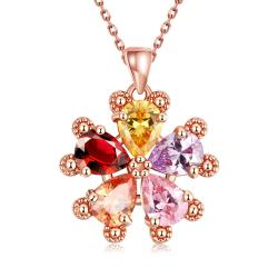 Vienna Jewelry Rose Gold Plated Rainbow Crystal Snowflake Necklace - Thumbnail 0