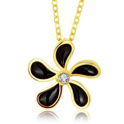 Vienna Jewelry Gold Plated Onyx Spiral Floral Necklace - Thumbnail 0