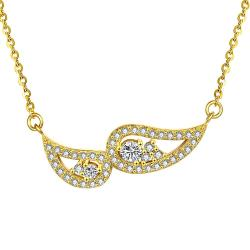 Vienna Jewelry Gold Plated Double Emblem Necklace - Thumbnail 0