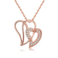 Vienna Jewelry Rose Gold Plated Large Double Love Necklace - Thumbnail 0