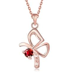 Vienna Jewelry Rose Gold Plated Petite Flying Butterfly Necklace - Thumbnail 0