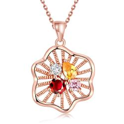 Vienna Jewelry Rose Gold Plated Quad Colorful Jewels Necklace - Thumbnail 0