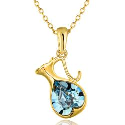 Vienna Jewelry Gold Plated Mock Sapphire Bleaker Emblem Necklace - Thumbnail 0