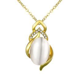Vienna Jewelry Gold Plated Spiral Pearl Emblem Necklace - Thumbnail 0