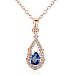 Vienna Jewelry Rose Gold Plated Saphire Drop Necklace - Thumbnail 0