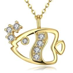 Vienna Jewelry Gold Plated Fish of the Sea Necklace - Thumbnail 0