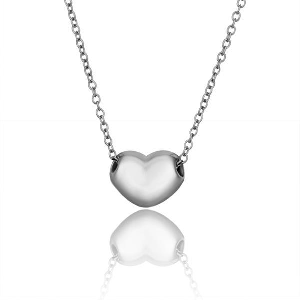 Vienna Jewelry White Gold Plated Petite Heart Shaped Necklace