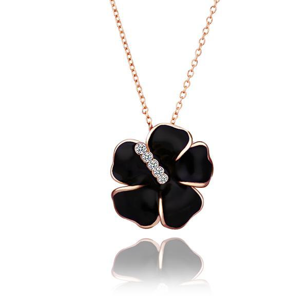 Vienna Jewelry Rose Gold Plated Onyx Floral Petal with Crystal Lining Necklace