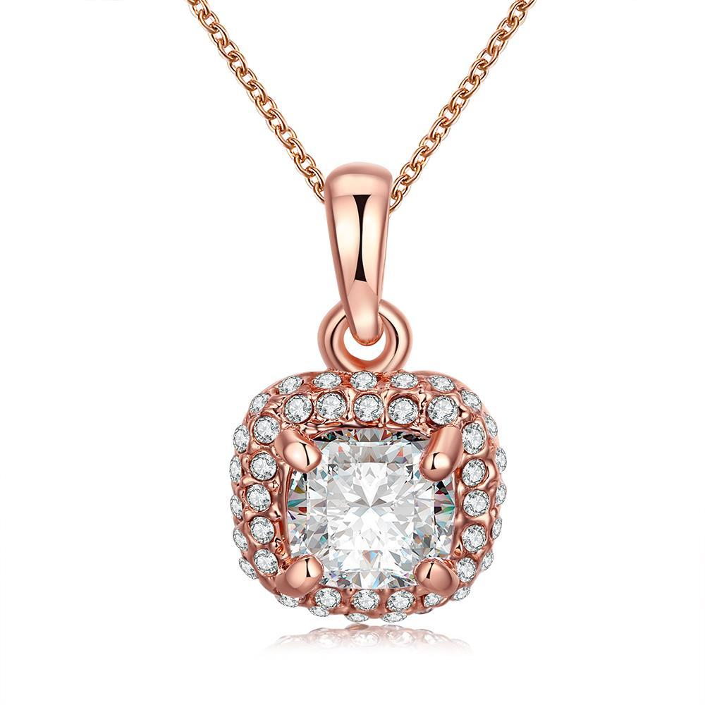 Vienna Jewelry 18K Rose Gold Plate Geometric White Topaz Necklace