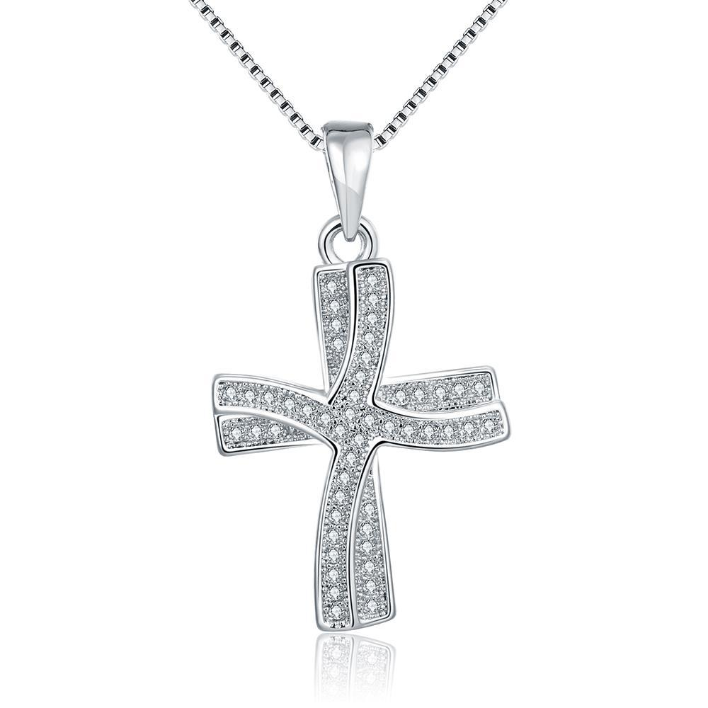 Vienna Jewelry 18K Italian White Gold Plated Cross Necklace