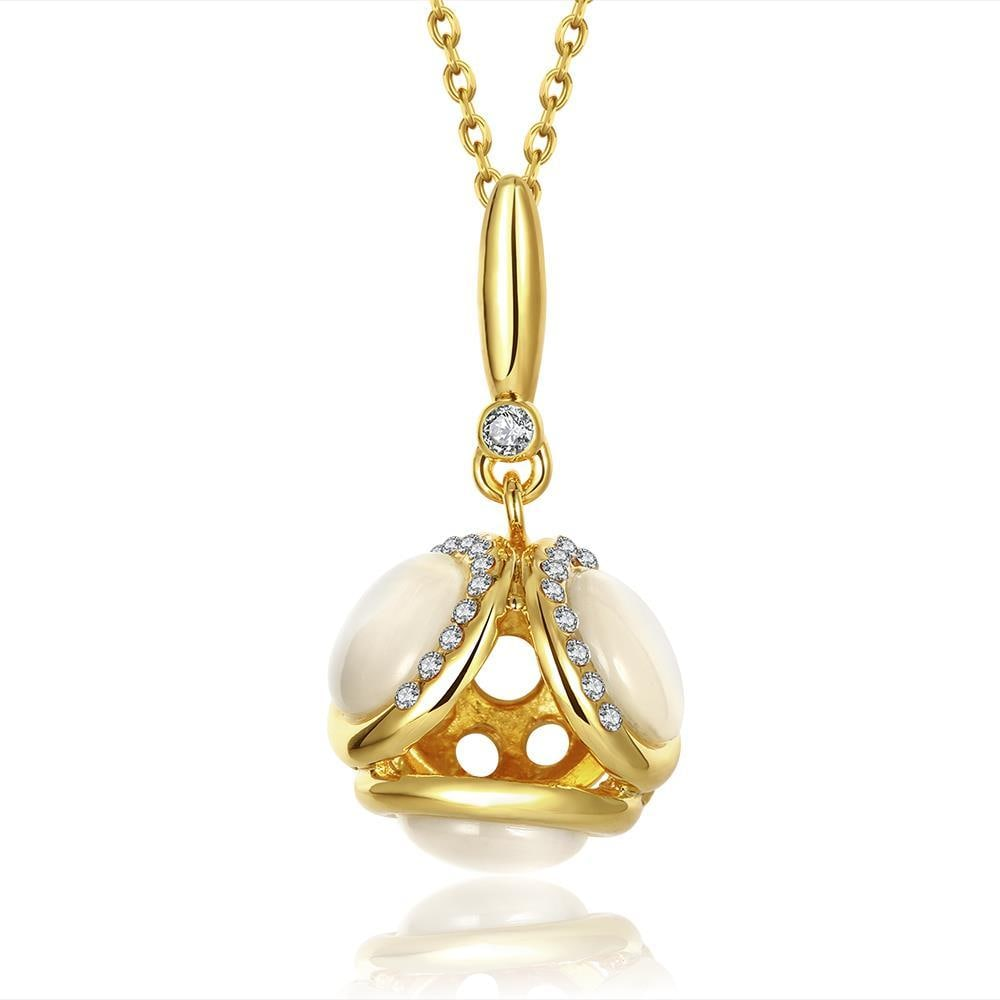Vienna Jewelry Gold Plated Duo-Ivory Drop Necklace