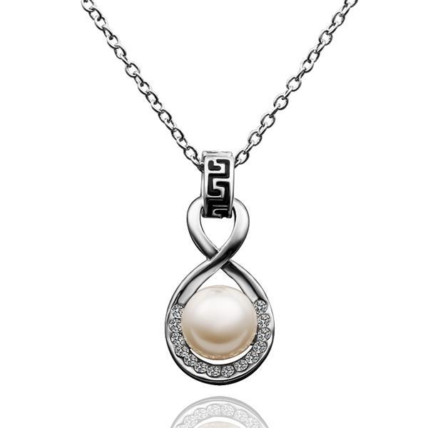 Vienna Jewelry White Gold Plated Infinite Pearl Drop Necklace