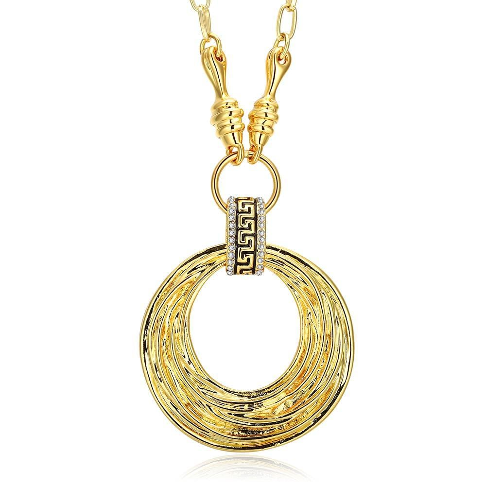 Vienna Jewelry Gold Plated Spiral Circular Drop Necklace