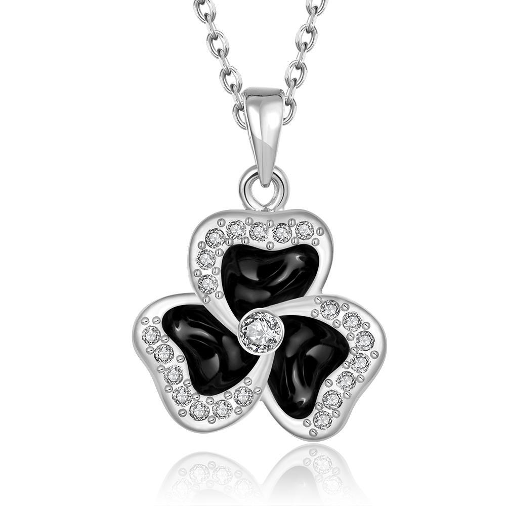 Vienna Jewelry White Gold Plated Spiral Clover Pendant Necklace