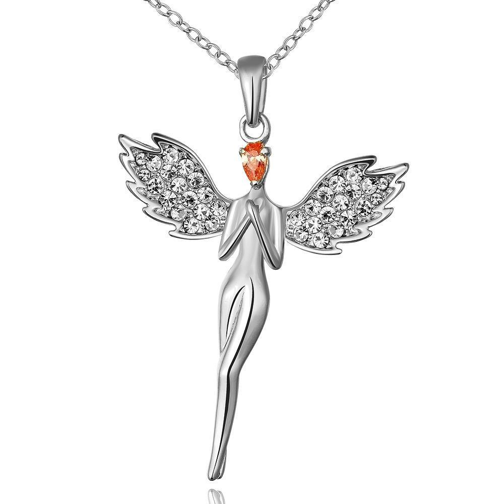 Vienna Jewelry White Gold Plated Dangling Angel Necklace