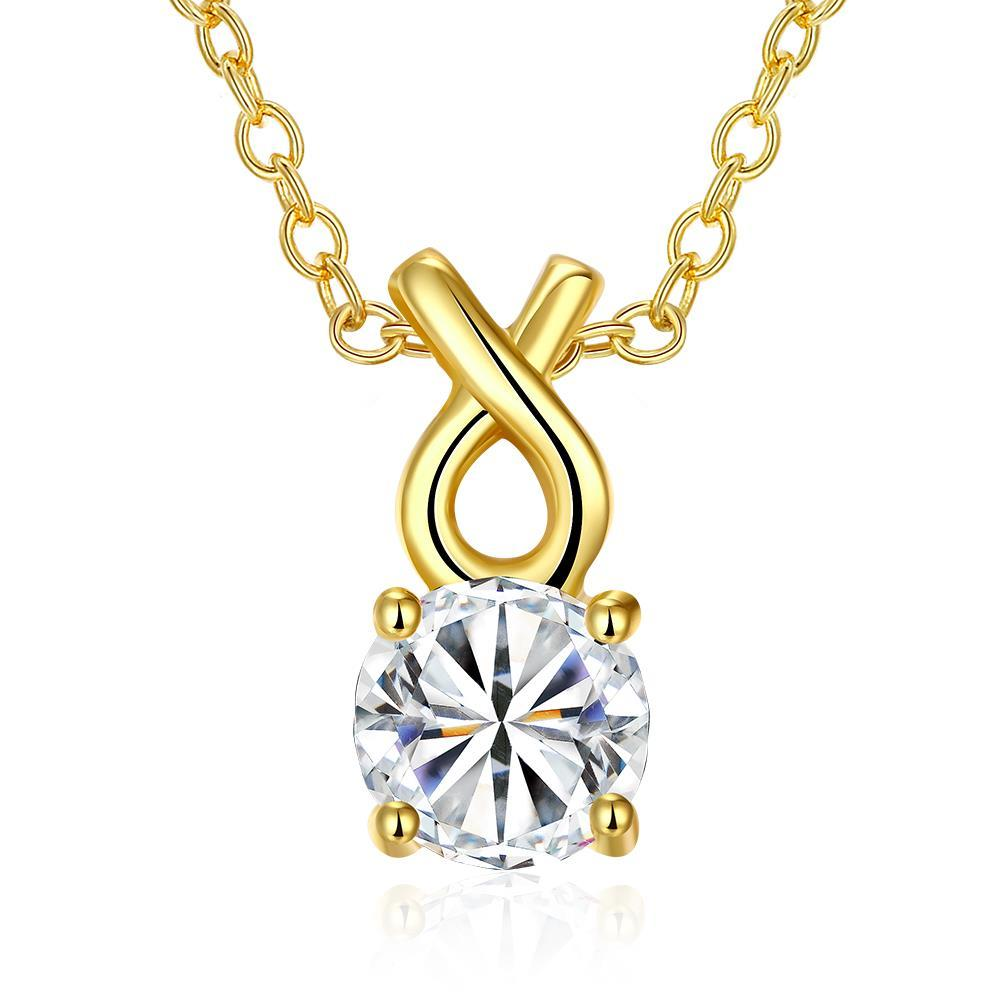 Vienna Jewelry Gold Plated Classic Tiffany's Diamond Necklace