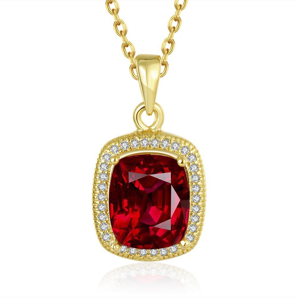 Vienna Jewelry Gold Plated Ruby Gem Pendant Necklace