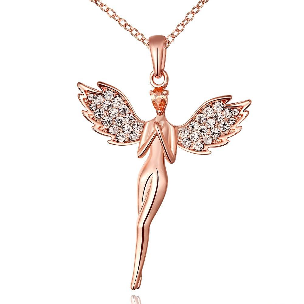 Vienna Jewelry Rose Gold Plated Dangling Angel Necklace