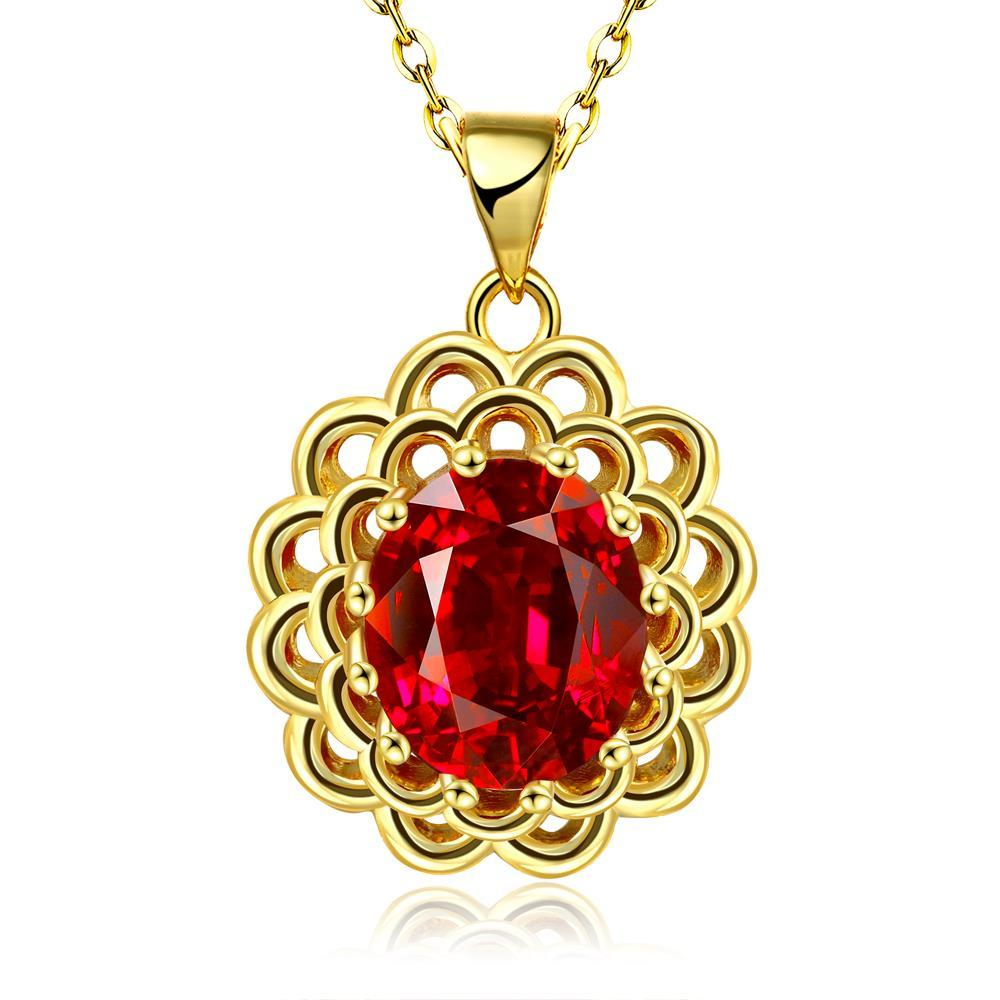 Vienna Jewelry Gold Plated Ruby Gem Spiral Laser Cut Necklace