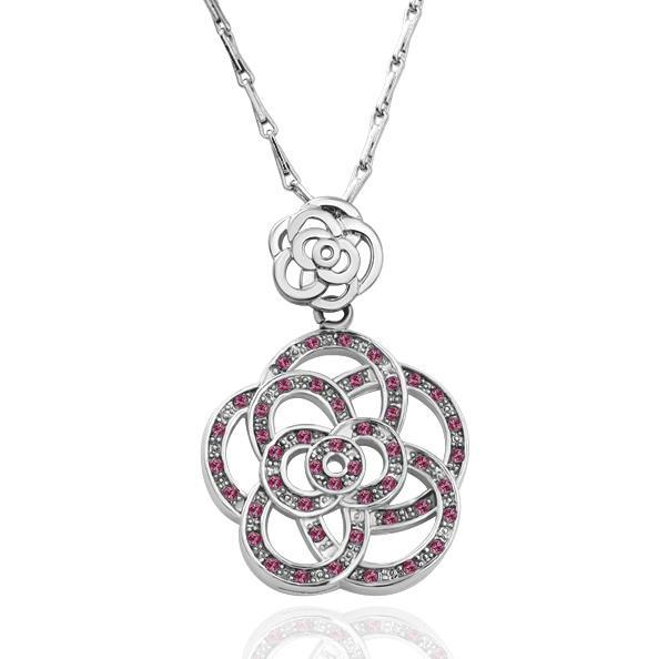 Vienna Jewelry White Gold Plated Large Clover Inspired Ruby Encrusted Neckace