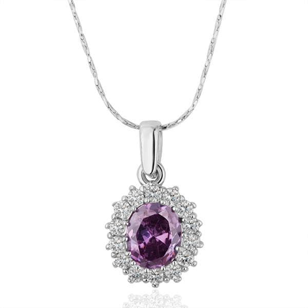 Vienna Jewelry White Gold Plated Purple Citrine Gem Necklace