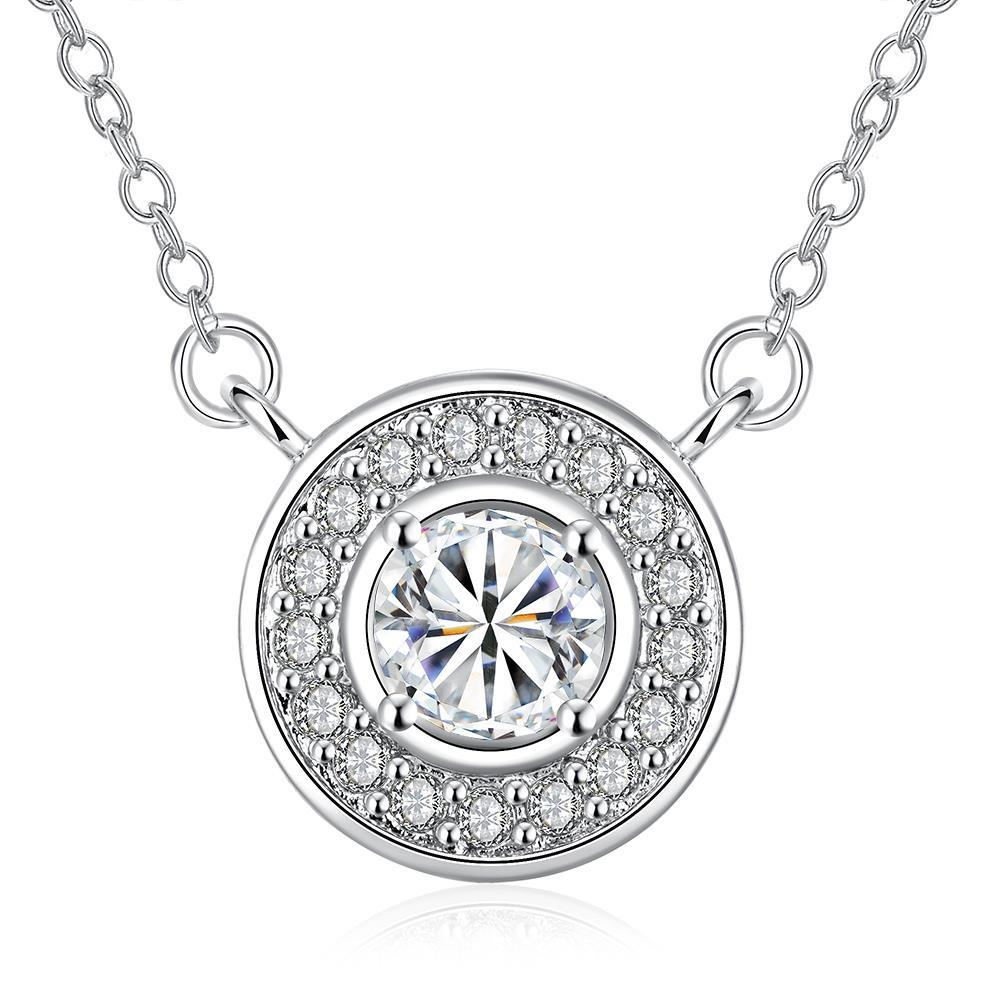 Vienna Jewelry White Gold Plated Circular Crystal * Pendant Necklace