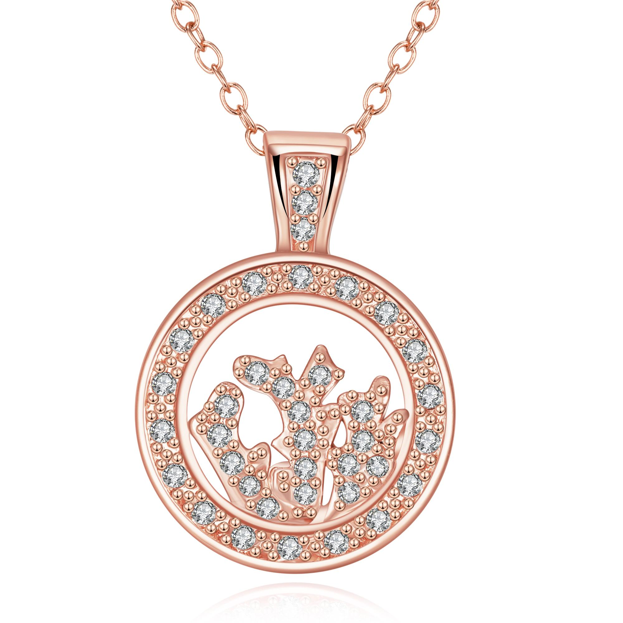 Vienna Jewelry Rose Gold Plated Crystal Filled Necklace