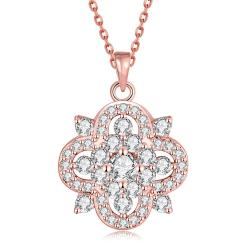 Vienna Jewelry Rose Gold Plated Spade of Crystals Necklace - Thumbnail 0