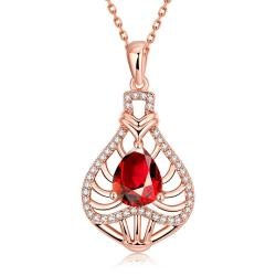 Vienna Jewelry Rose Gold Plated Laser Cut Ruby Necklace - Thumbnail 0