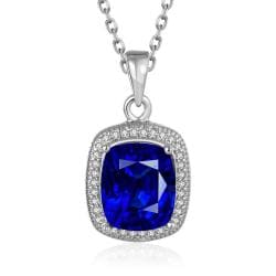 Vienna Jewelry White Gold Plated Sapphie Gem Pendant Necklace - Thumbnail 0