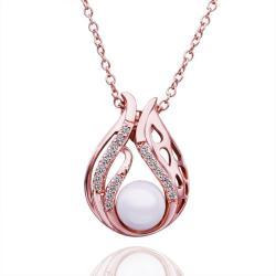 Vienna Jewelry Rose Gold Plated Blossoming Pearl Necklace - Thumbnail 0