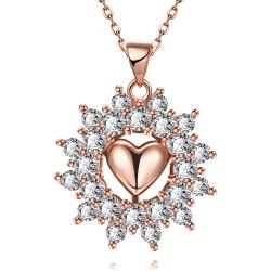 Vienna Jewelry Rose Gold Plated Petite Heart Snowflake Necklace - Thumbnail 0