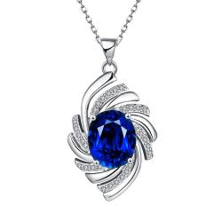 Vienna Jewelry White Gold Plated Saphire Gem Spiral Necklace - Thumbnail 0