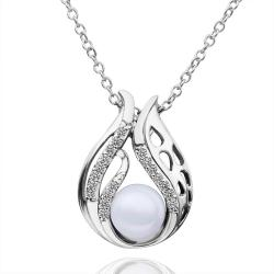 Vienna Jewelry White Gold Plated Blossoming Pearl Necklace - Thumbnail 0